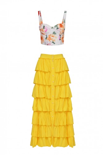 Buttoned Boho style skirt in the color of the sun with a floral top ( the last 2 pieces)