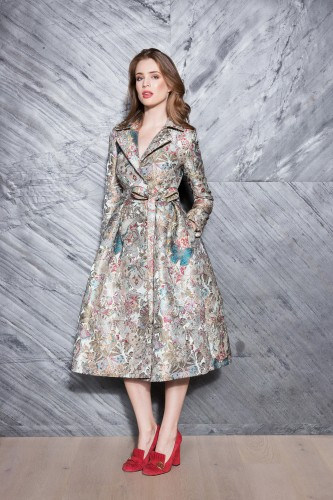Formal Coat made of Embroidered Jacquard in Butterflies (only 3 pieces)