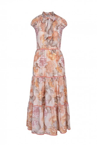 Picturesque Silk Dress with Pastel Flowers ( only 2 pieces )