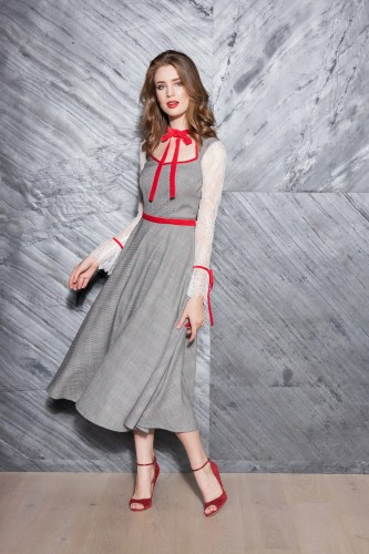 28d77dae92 Impressive Vintage dress in white-black check with lace sleeves - last one  36