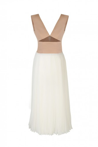 Airy Dress with a Pleated Chiffon