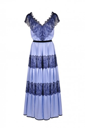 Romantic Blue Silk Dress with French Lace